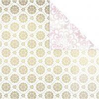 Designpapper, kakel & akvarell, 30,5x30,5 cm, 180 g, guld, vit, 3 ark/ 1 förp.