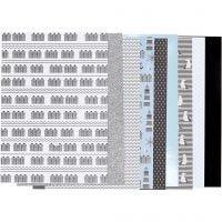 Designpapper i block, stl. 21x30 cm, 120+128 g, svart, blå, grå, vit, 24 ark/ 1 förp.