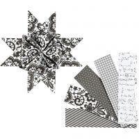 Stjärnstrimlor, L: 100 cm, Dia. 18 cm, B: 40 mm, svart, vit, 40 strimlor/ 1 förp.