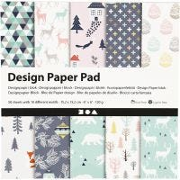 Designpapper, 15,2x15,2 cm, 120 g, ljusgrön, rosa, vit, 50 ark/ 1 förp.