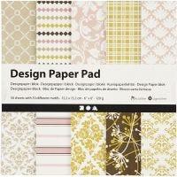 Designpapper, 15,2x15,2 cm, 120 g, grön, rosa, 50 ark/ 1 förp.