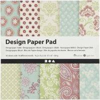 Designpapper, 15,2x15,2 cm, 120 g, mintgrön, lila, 50 ark/ 1 förp.