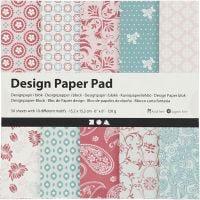 Designpapper, 15,2x15,2 cm, 120 g, rosa, 50 ark/ 1 förp.