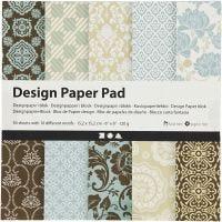 Designpapper, 15,2x15,2 cm, 120 g, ljusblå, brun, 50 ark/ 1 förp.