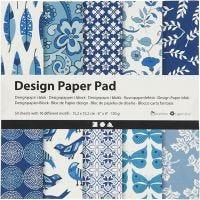Designpapper, 15,2x15,2 cm, 120 g, blå, 50 ark/ 1 förp.