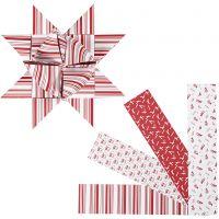 Stjärnstrimlor, L: 100 cm, Dia. 18 cm, B: 40 mm, röd, vit, 40 strimlor/ 1 förp.