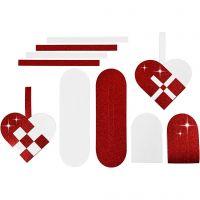 Flätade hjärtan, stl. 14,5x10 cm, 120+128 g, röd, vit, 8 set/ 1 förp.
