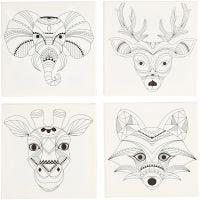Målarduk med tryck, djur, stl. 20x20 cm, 280 g, vit, 4 st./ 1 förp.