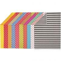 Mönstrad kartong, A4, 210x297 mm, 250 g, mixade färger, 20 mix. ark/ 1 förp.