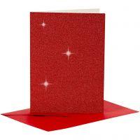 Kort och kuvert, kortstl. 10,5x15 cm, kuvertstl. 11,5x16,5 cm, glitter, 110+250 g, röd, 4 set/ 1 förp.