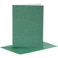 Kort och kuvert, kortstl. 10,5x15 cm, kuvertstl. 11,5x16,5 cm, glitter, 110+250 g, grön, 4 set/ 1 förp.