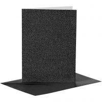 Kort och kuvert, kortstl. 10,5x15 cm, kuvertstl. 11,5x16,5 cm, glitter, 110+250 g, svart, 4 set/ 1 förp.
