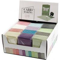 Kort och kuvert, kortstl. 10,5x15 cm, kuvertstl. 11,5x16,5 cm, 120+210 g, mixade färger, 12x10 förp./ 1 förp.