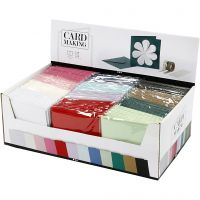 Kort och kuvert, kortstl. 15,2x15,2 cm, kuvertstl. 16x16 cm, 230 g, mixade färger, 12x10 förp./ 1 förp.
