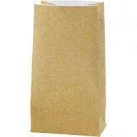 Papperspåsar, H: 17 cm, stl. 6x9 cm, 170 g, guld, 8 st./ 1 förp.