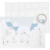 Julkalender, stl. 30x42 cm, vit, 3 st./ 1 förp.