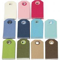 Färgade Manillamärken, stl. 6x3 cm, Innehållet kan variera , mixade färger, 200 mix./ 1 förp.