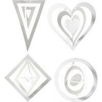 3D-dekorationer, H: 18+22+24 cm, B: 15+18+22 cm, 230 g, vit, 16 st./ 1 förp.