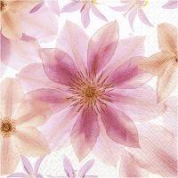 Servetter, Pressade blommor, stl. 33x33 cm, 20 st./ 1 förp.