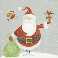 Servetter, Jultomte med säck, stl. 33x33 cm, 20 st./ 1 förp.