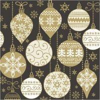 Servetter, julkulor, stl. 33x33 cm, 20 st./ 1 förp.