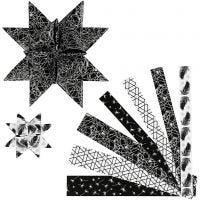 Stjärnstrimlor, L: 44+78 cm, B: 15+25 mm, Dia. 6,5+11,5 cm, svart, silver, 48 strimlor/ 1 förp.