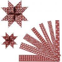 Stjärnstrimlor, L: 44+78 cm, Dia. 6,5+11,5 cm, B: 15+25 mm, röd, vit, 60 strimlor/ 1 förp.