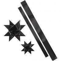 Stjärnstrimlor, L: 86+100 cm, B: 25+40 mm, Dia. 11,5+18,5 cm, svart, 16 strimlor/ 1 förp.