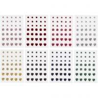Rhinestones, rund, fyrkant, hjärta, stl. 6+8+10 mm, 8 ark/ 1 förp.