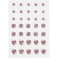 Rhinestones, (rund, fyrkant, hjärta), stl. 6+8+10 mm, rosa, 35 st./ 1 förp.