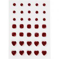 Rhinestones, (rund, fyrkant, hjärta), stl. 6+8+10 mm, röd, 35 st./ 1 förp.