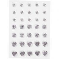 Rhinestones, (rund, fyrkant, hjärta), stl. 6+8+10 mm, silver, 35 st./ 1 förp.