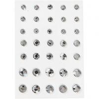 Rhinestones, rund kägla, stl. 6+8+10 mm, silver, 35 st./ 1 förp.