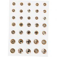 Rhinestones, rund kägla, stl. 6+8+10 mm, guld, 35 st./ 1 förp.
