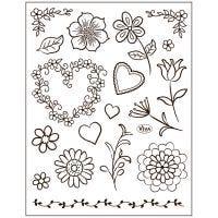 Stämpelmotiv, blommor, 14x18 cm, 1 ark