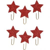 Gem, stjärna, Dia. 30 mm, röd, 6 st./ 1 förp.