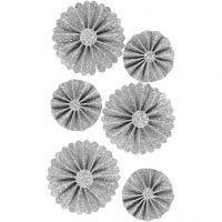 Rosetter, Dia. 35+50 mm, silverglitter, 6 st./ 1 förp.