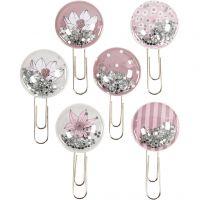 Shaker clips, L: 49 mm, Dia. 25 mm, beige, brun, rosa, vit, 6 st./ 1 förp.