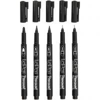 Permanent Tusch, spets 2x0,6+2x0,8+1,3 mm, svart, 5 st./ 1 förp.