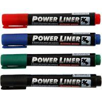 Power Liner, spets 1,5-3 mm, svart, blå, grön, röd, 4 st./ 1 förp.