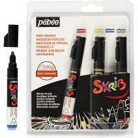Skrib Marker , spets 4 mm, svart, blå, röd, gul, 4 st./ 1 förp.