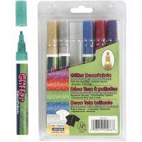 Deco textilpennor, spets 3 mm, glitter färger, 6 st./ 1 förp.