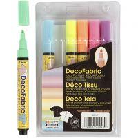 Deco textilpennor, spets 3 mm, neonfärger, 6 st./ 1 förp.