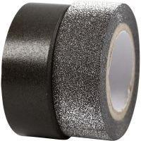 Washitejp, B: 15 mm, svart, 2 rl./ 1 förp.