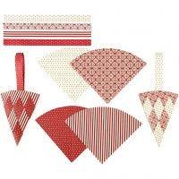 Flätade strutar, H: 19,3 cm, B: 9,2 cm, röd, vit, 8 set/ 1 förp.