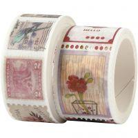 Washitejp, frimärke- och blomstermotiv, L: 3+5 m, B: 20+25 mm, 2 rl./ 1 förp.