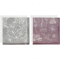 Dekorationsfolie och limark med motiv, blommor, 15x15 cm, rosa, silver, 4 ark/ 1 förp.