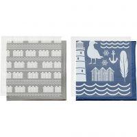 Dekorationsfolie och limark med motiv, fyrtorn, 15x15 cm, blå, silver, 2x2 ark/ 1 förp.