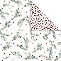 Designpapper, grangren och prickar, 30,5x30,5 cm, 180 g, guld, grön, röd, vit, 3 ark/ 1 förp.