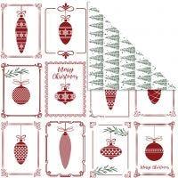 Designpapper, julkulor och julgran, 30,5x30,5 cm, 180 g, 5 ark/ 1 förp.